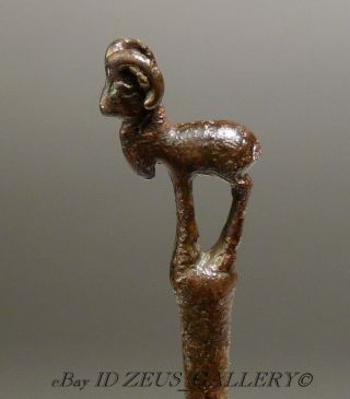 Ancient Luristan Bronze Standing Ram Cloak Pin Bronze Age 17½cm 6.  75 In. photo