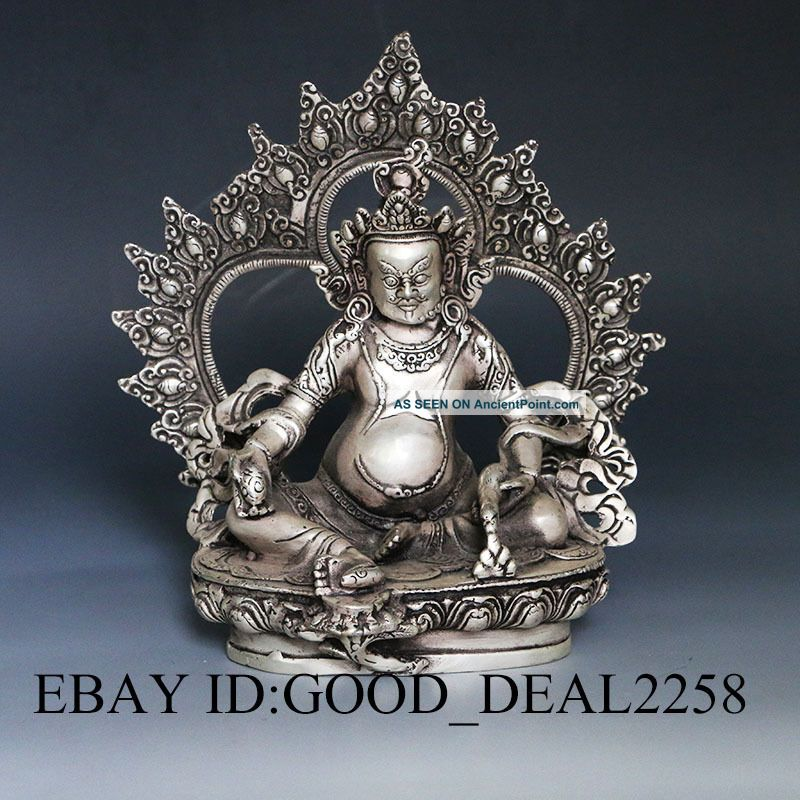 Oriental Vintage Silver Copper Hand - Carved Statue W God Of Wealth Buddha photo