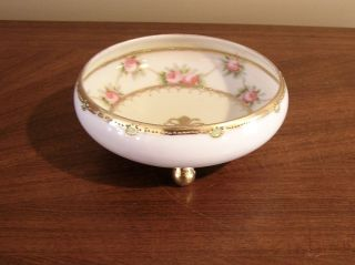 Antique Nippon Noritake Porcelain Footed Bowl Bonbonniere Gold Moriage Work Vgc photo