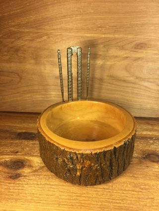 Tree Bark Nut Bowl Picks Nutcracker 50 ' S Rustic Wood Farmhouse Cabin Primitive photo