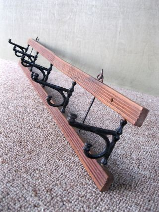 Antique Hat Coat Rack Vintage Primitive W/5 Old Swivel Iron Hooks 25