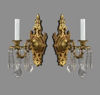French Bronze & Crystal Wall Sconces C1930 Vintage Antique Gold Lights photo