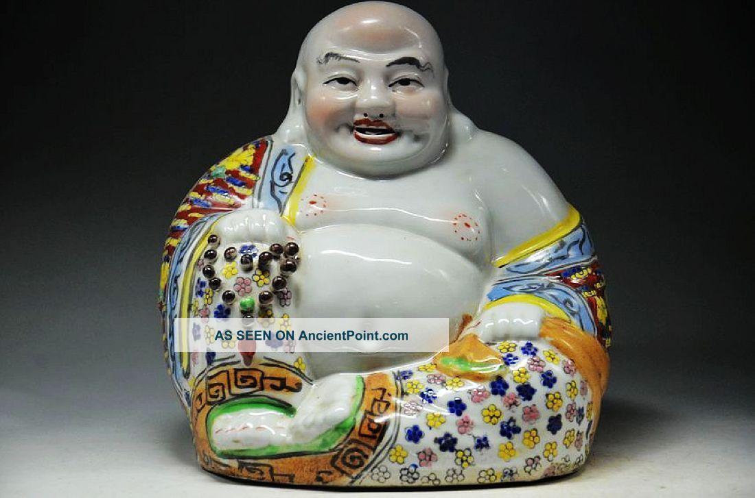 Exquisite Chinese Pastel Porcelain Handwork Smiling Buddha Statue Buddha photo