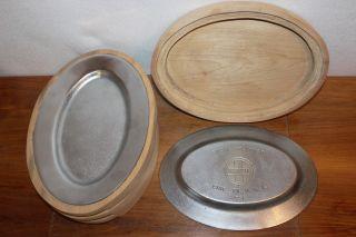 Griswold 851 Restaurant Steak Platters & Sarce Wood Trays Cast Iron Cookware photo