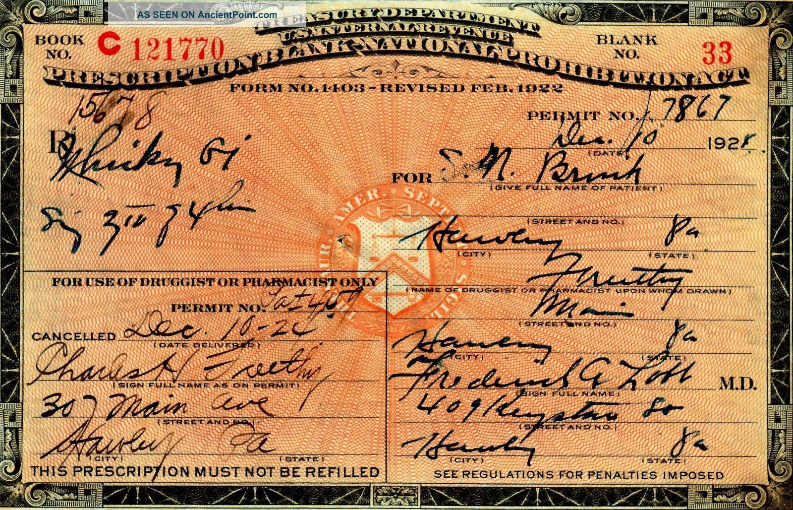 12/10 1924 Prohibition Prescription Doctor Whiskey Whisky Pharmacy