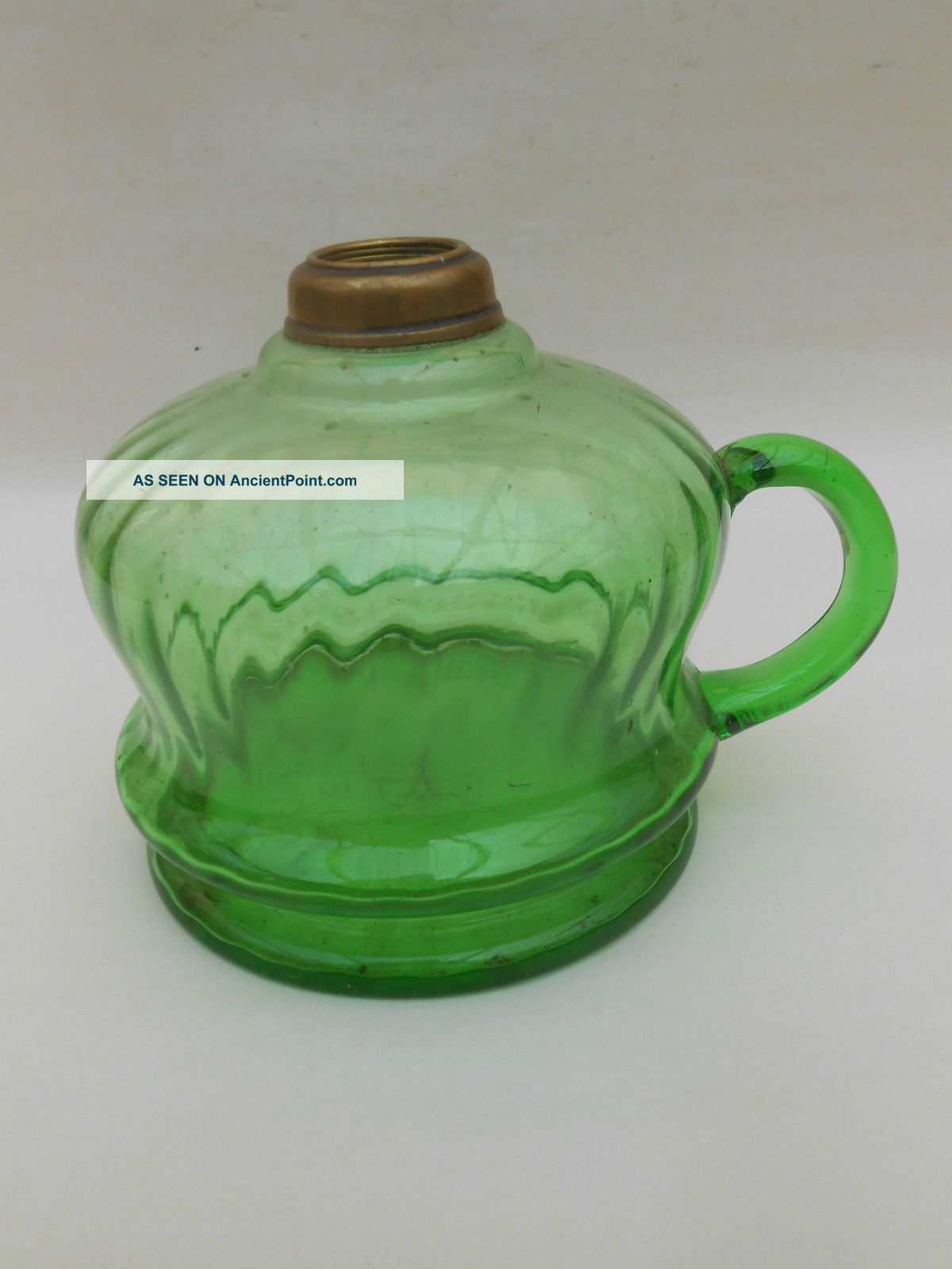 Early 20th C.  Green Glass Hand Oil Lamp Edwardian (1901-1910) photo