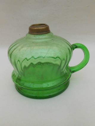 Early 20th C.  Green Glass Hand Oil Lamp photo