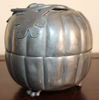 Antique Chinese Pewter Pumpkin Box Marked photo