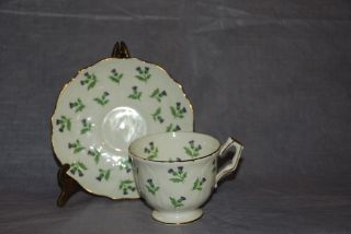 Vintage Aynsley Tea Cup & Saucer Purple Thistle photo