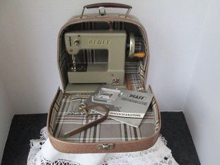 Vintage Childrens Toy Sewing Machine In Orig Case.  Germany Pfaff photo