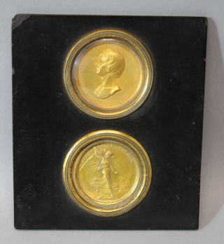 Antique Thomas Webb,  Gold Gilt Bronze Medallion,  Vice - Admiral Horatio Nelson photo