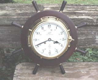 Vintage Wind Up Wall Clock Schatz Royal Mariner Ships Wheel Chime West Germany photo