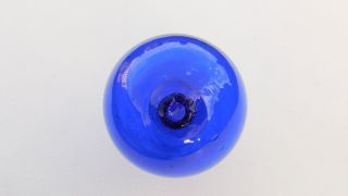 Cobalt Blue Glass Float Marked Seal Button Ff photo