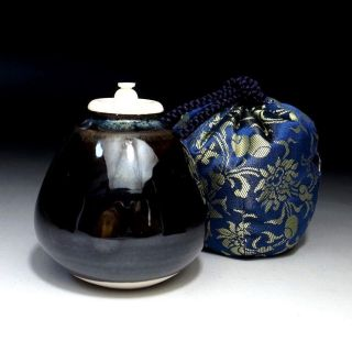 Yb8: Vintage Japanese Tea Caddy,  Chiaire,  Seto Ware With Shifuku Cloth Bag photo