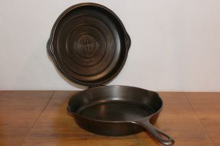 1940s Griswold Size 8 Hinged Skillet 2508 & Cover 2598 Vintage Erie Pa Cast Iron photo