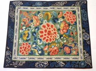 Antique Chinese 19th Century Silk Embroidery Qing Textile Flower Panel 16x14