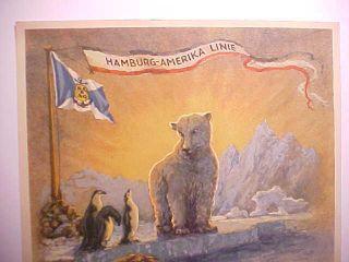 1936 Hamburg Amerika Line Crossing Arctic Circle Color Certificate W/ Polar Bear photo