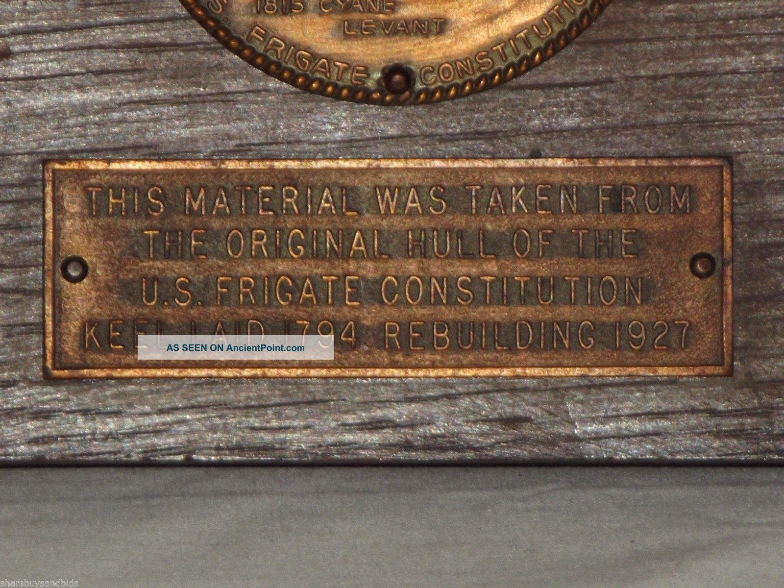 Great Relic - Uss Constitution Section Of Wood With Brass Plaques Other Maritime Antiques photo