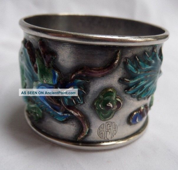 Rare Signed Chinese Export Sterling Silver And Raised Enamel Napkin Ring Dragon Asia photo