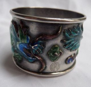 Rare Signed Chinese Export Sterling Silver And Raised Enamel Napkin Ring Dragon photo