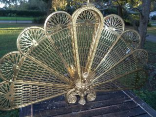 Vintage Art Deco Brass Fireplace Hearth Phoenix Peacock Folding Fan Screen photo