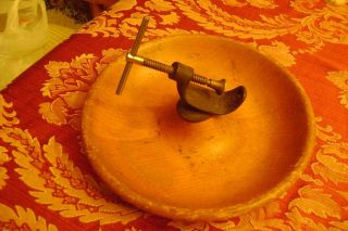 Antique Nutcracker Vise Wooden Bowl Hand Forged 11