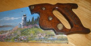 Vintage - Antique - Disston - Hand Painted Hand Saw - Lighthouse/seashore Design photo