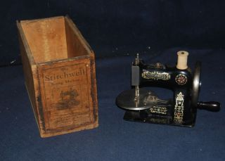 Rare Antique Stitchwell Cast Iron Sewing Machine With Box 1900 - 1915 photo