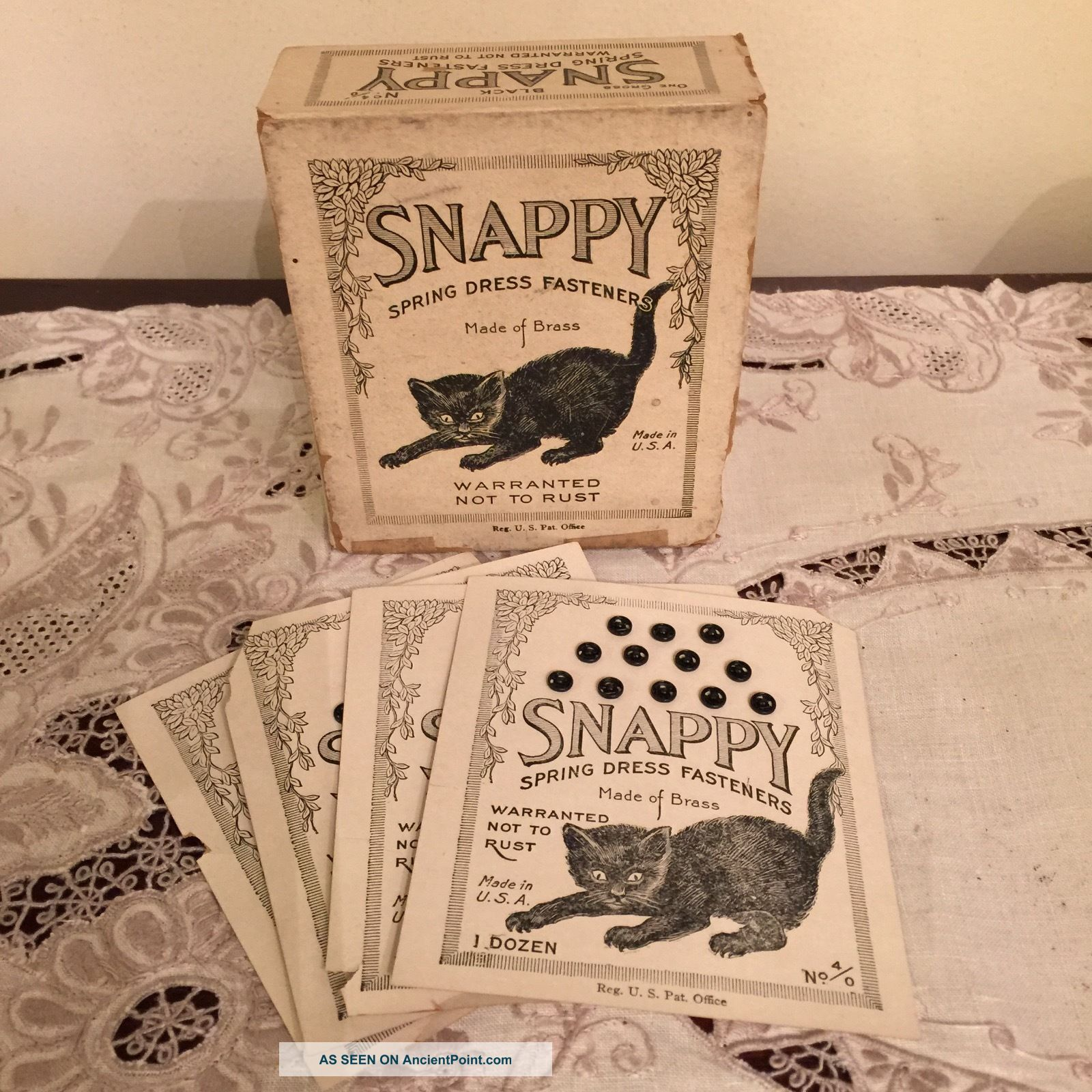 Antique Black Cat Snappy Dress Fastener Sewing Box Paper Kitten Advertising Other Antique Sewing photo