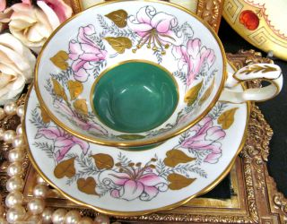 Royal Stafford Morning Glory Tea Cup And Saucer Painted Raised Gold Garland photo