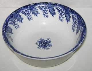 Antique 1895 - 1900 Upper Hanley Pottery England Florence Flow Blue Serving Bowl photo