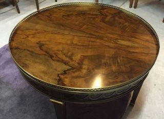 Rare Baker Burl Wood Round Coffee Table photo