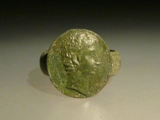 Roman Bronze Ring With Images Of Roman Emperor Аugustus photo