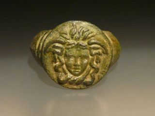 Interesting Roman Bronze Ring With Gorgona photo