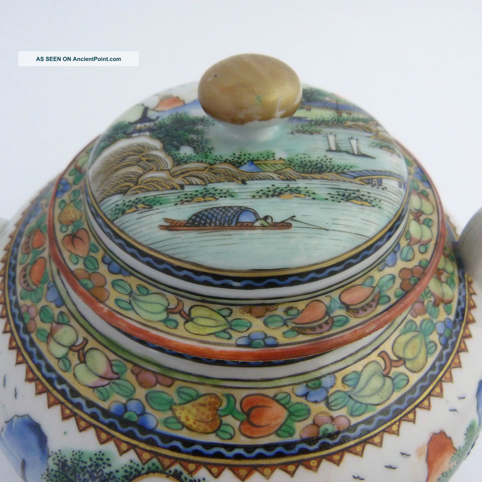 Chinese Famille Verte Porcelain Teapot With Scenic Decoration,  Guangxu Porcelain photo
