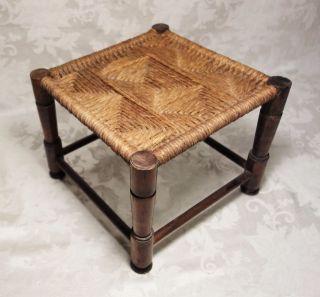 Vintage Handmade Wood Foot Stool Natural Rope Cane Seat Primitive Rustic 11 X 9 photo