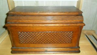 Antique 1893 Singer Treadle Sewing Machine Oak Coffin Top,  Machine Cover photo