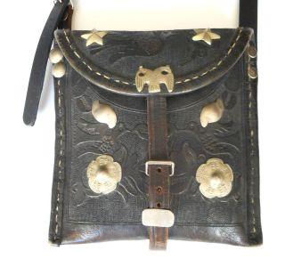 Antique Bolivian Leather Shoulder Bag - Coin Silver Decoration - C.  1900 photo