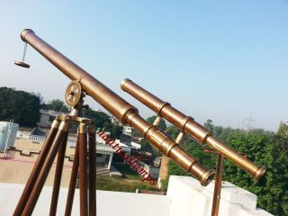 Brass Wooden Tripod Telescope Vintage Style Antique Double Barrel Telescope Gift photo