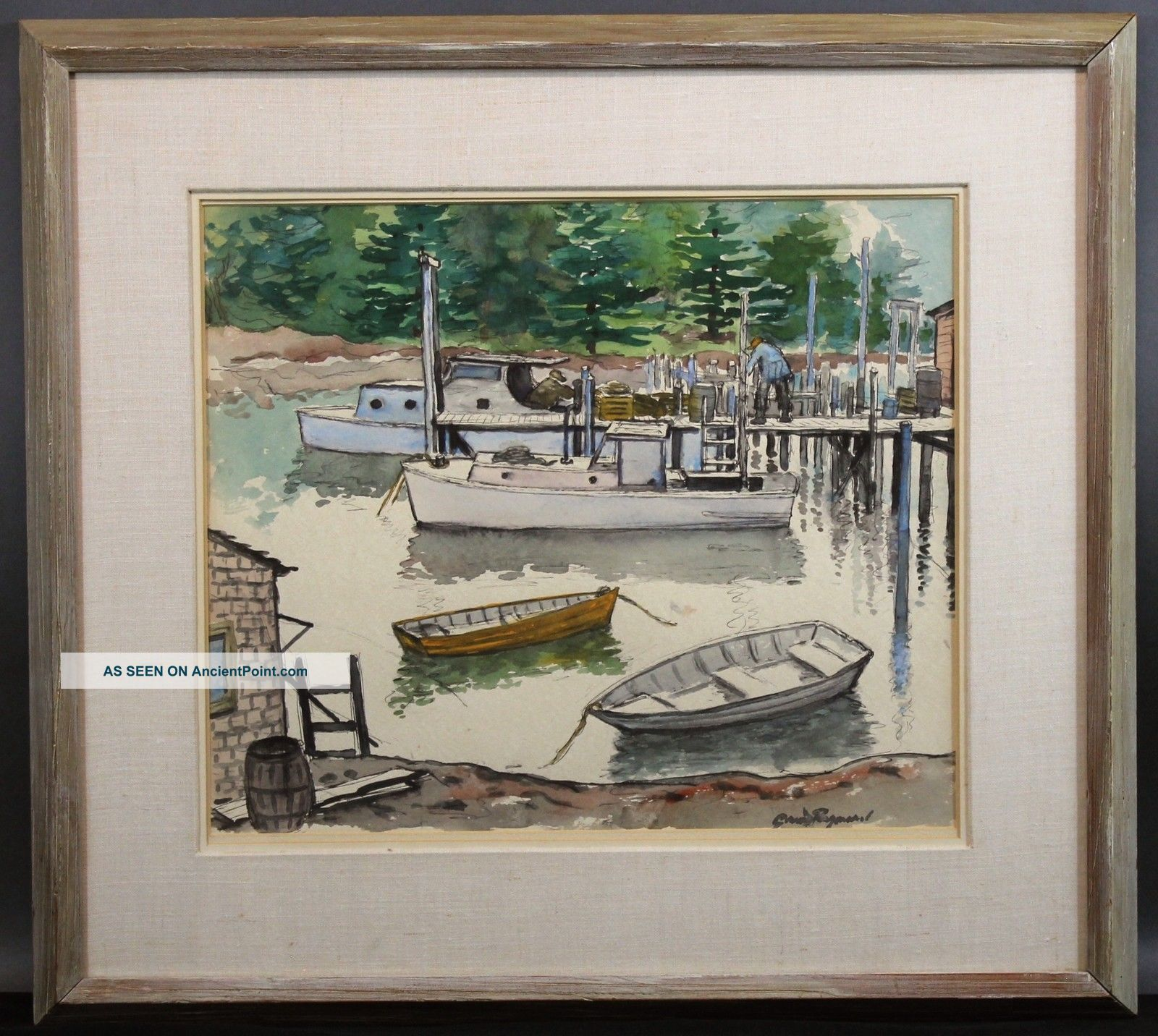 Antique Grant Tyson Reynard Jersey Boat Dock Watercolor Painting Other Maritime Antiques photo