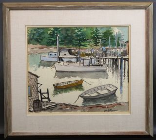 Antique Grant Tyson Reynard Jersey Boat Dock Watercolor Painting photo