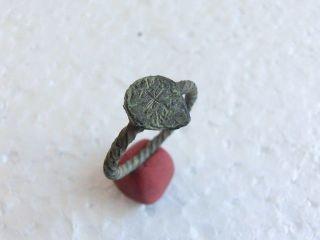 Rare Medieval - Knights Templar Era - Brass Religious Ring Cross On Heart photo