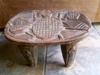 African Senufo Stool Hand - Carved Tribal Decor Primitive Folk Art photo