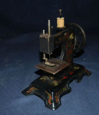 Rare Antique German Toy Mini Hand Crank Sewing Machine – Hand - Painted - Mueller photo