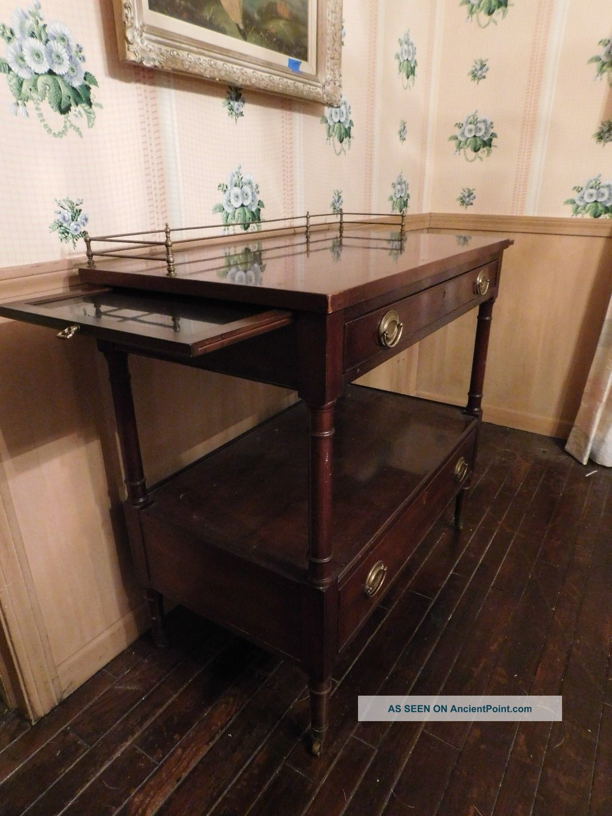 Kittinger Mahogany Server Cart Early American Old Dominion Numbered Pull Trays Post-1950 photo