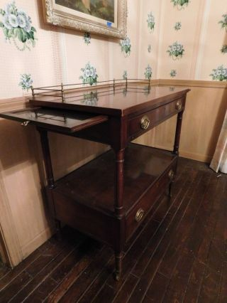 Kittinger Mahogany Server Cart Early American Old Dominion Numbered Pull Trays photo