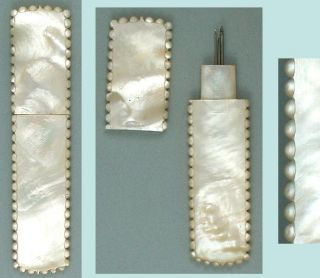 Unusual Antique Mother Of Pearl Palais Royal Needle Case Circa 1820 photo