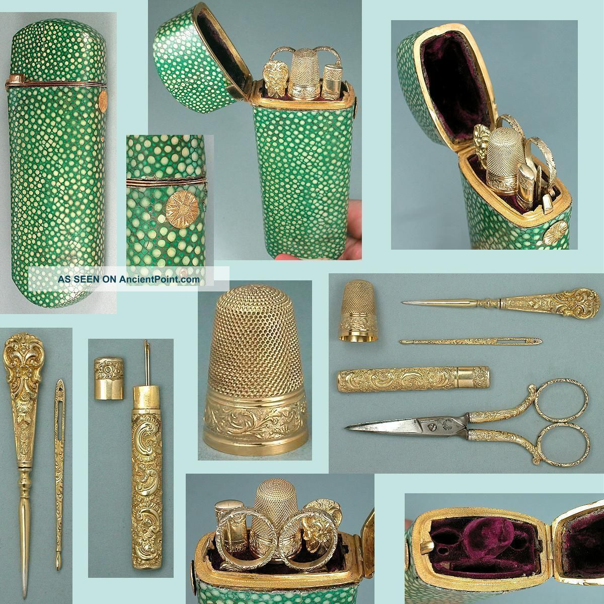 Rare Antique Shagreen & Gold Etui W/ Gilded Silver Sewing Tools Circa 1830 Other Antique Sewing photo