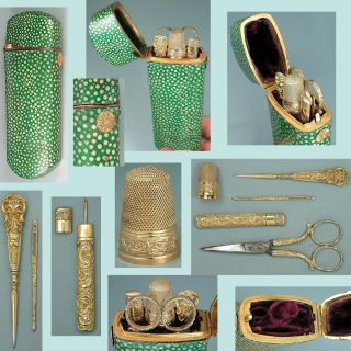 Rare Antique Shagreen & Gold Etui W/ Gilded Silver Sewing Tools Circa 1830 photo