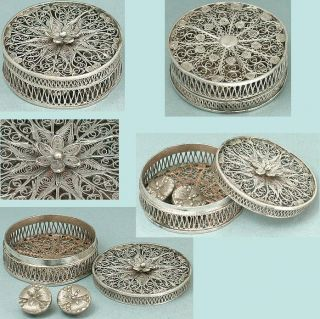 Antique Sterling Silver Filigree Patch / Button Box English Circa 1800 photo